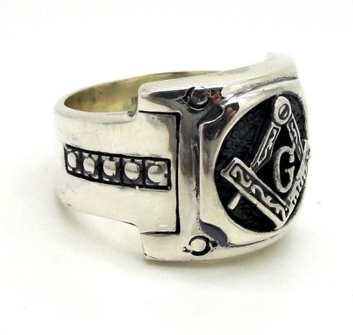anel prata de lei 950 maçonaria maçom envelhecido - ma2272