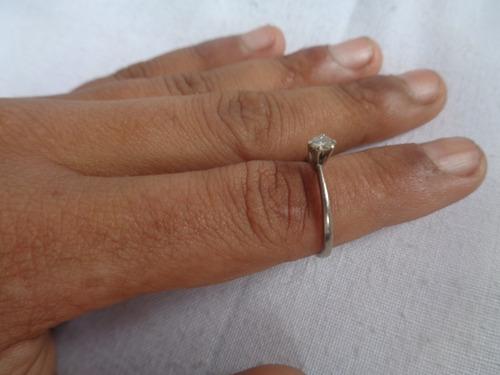 anel prata de lei aro pedrinha solitário aro 14 52*