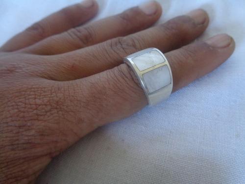 anel prata de lei com madrepérola aro 18 90*
