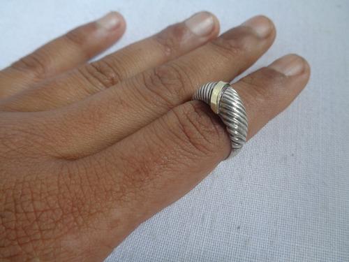 anel prata de lei ouro aro 18 vintage 57*