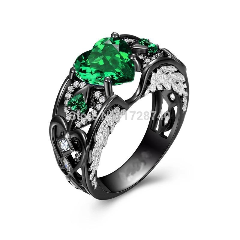 44714dd4db41e anel prata esterlina escura 925 asa do anjo zirconia verde. Carregando zoom.