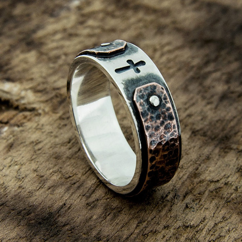 anel prata estilo rústico masculino cruz em baixo relevo