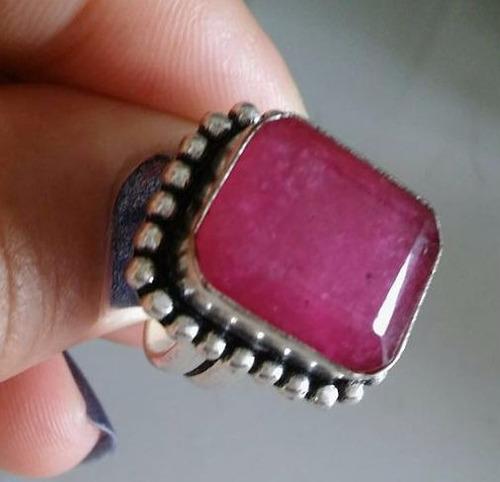 anel prata indiana feminino pedra rubi natural aro 14/15