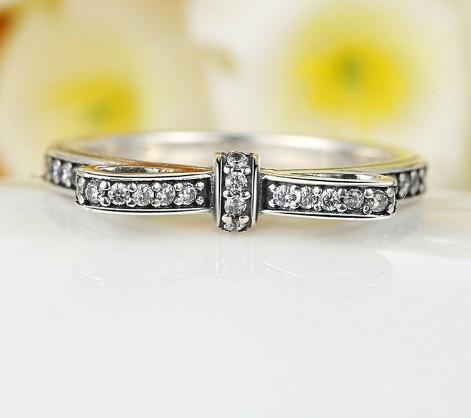 anel prata laço pedras de zircônia