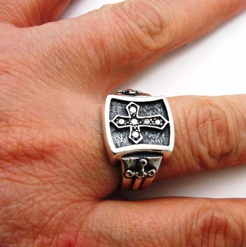 anel prata lei 950 espada cruz templario trabalhado ma2338