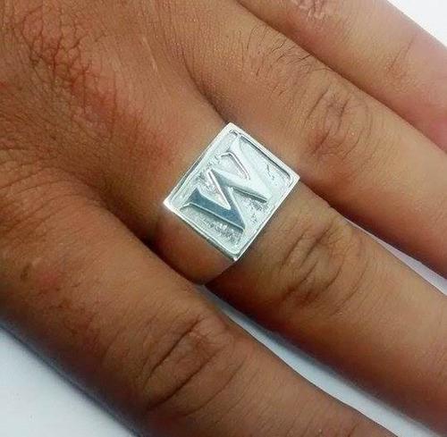 anel prata letras