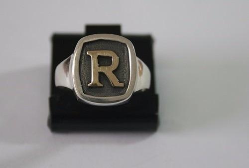 anel prata masculino letra