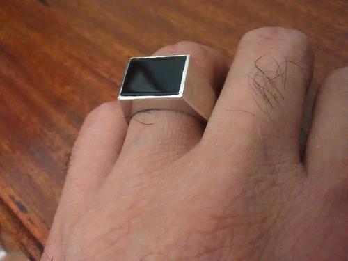 anel prata masculino pedra ônix aro 23