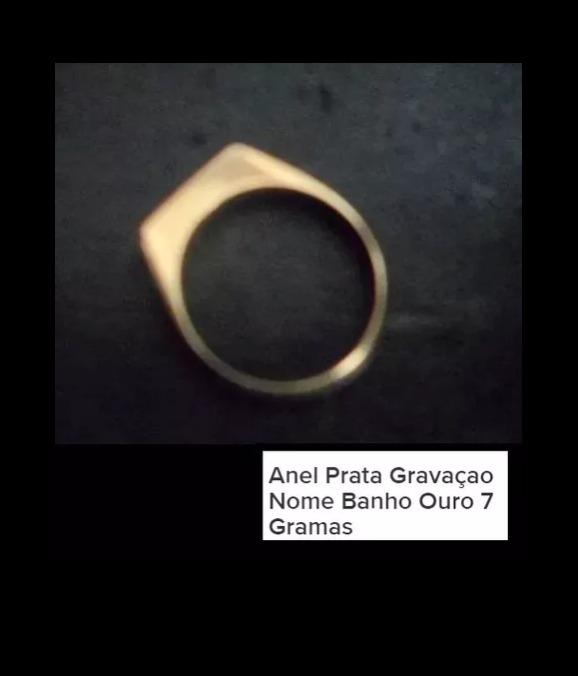8b914a89aba Anel Prata Nome Banho De Ouro - R  70
