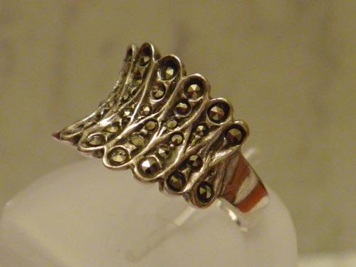 anel prata portuguesa e marcassita - mod 1