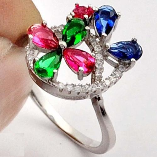 anel prata pura maciça aro 20 quartzo rubi safira j1725