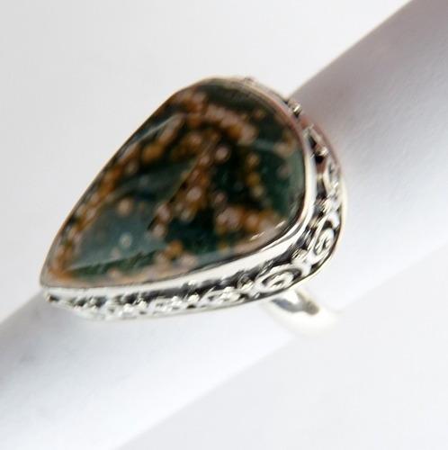 anel prata sólida 925 com garantia jaspe ocean natural 8411