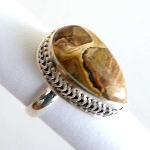 anel prata sólida 925 com garantia pedra jaspe picture 7833