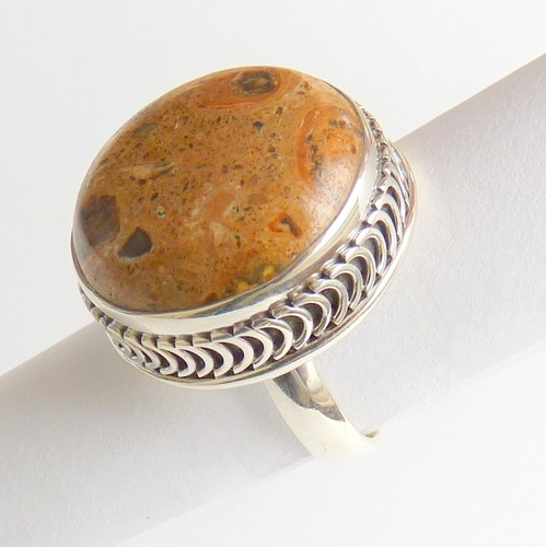 anel prata sólida 925 com garantia pedra jaspe picture 8423