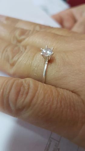 anel prata solitário