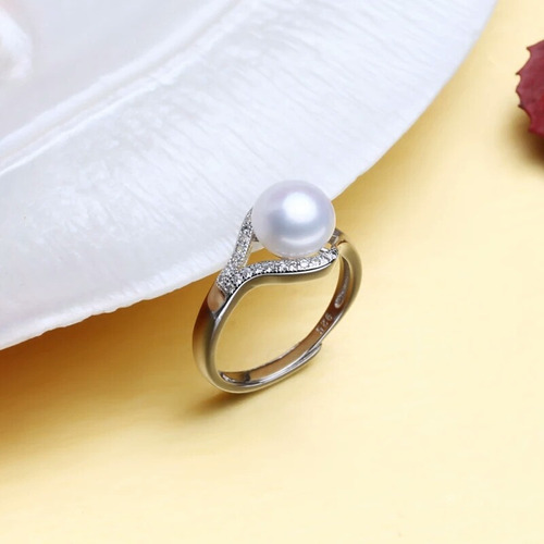 anel prata sterlina 925 pérola natural água doce  ajustável