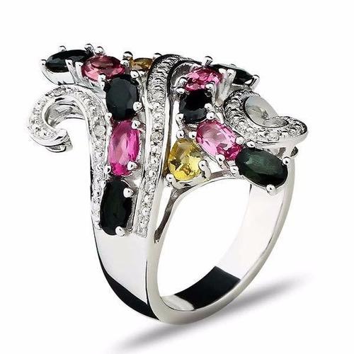 anel prata turmalinas coloridas e diamantes 12x sem juros