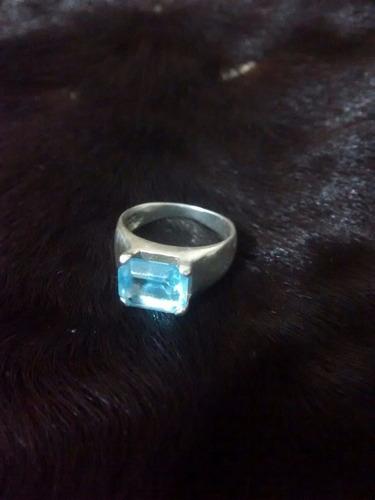 anel prata zirconia azul