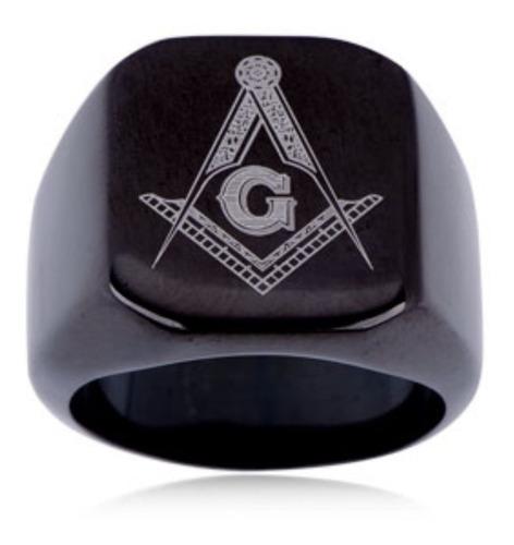 anel preto titânio maçom maçônico