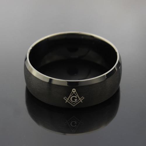 anel preto titânio maçom maçônico maçonaria + caixa preta