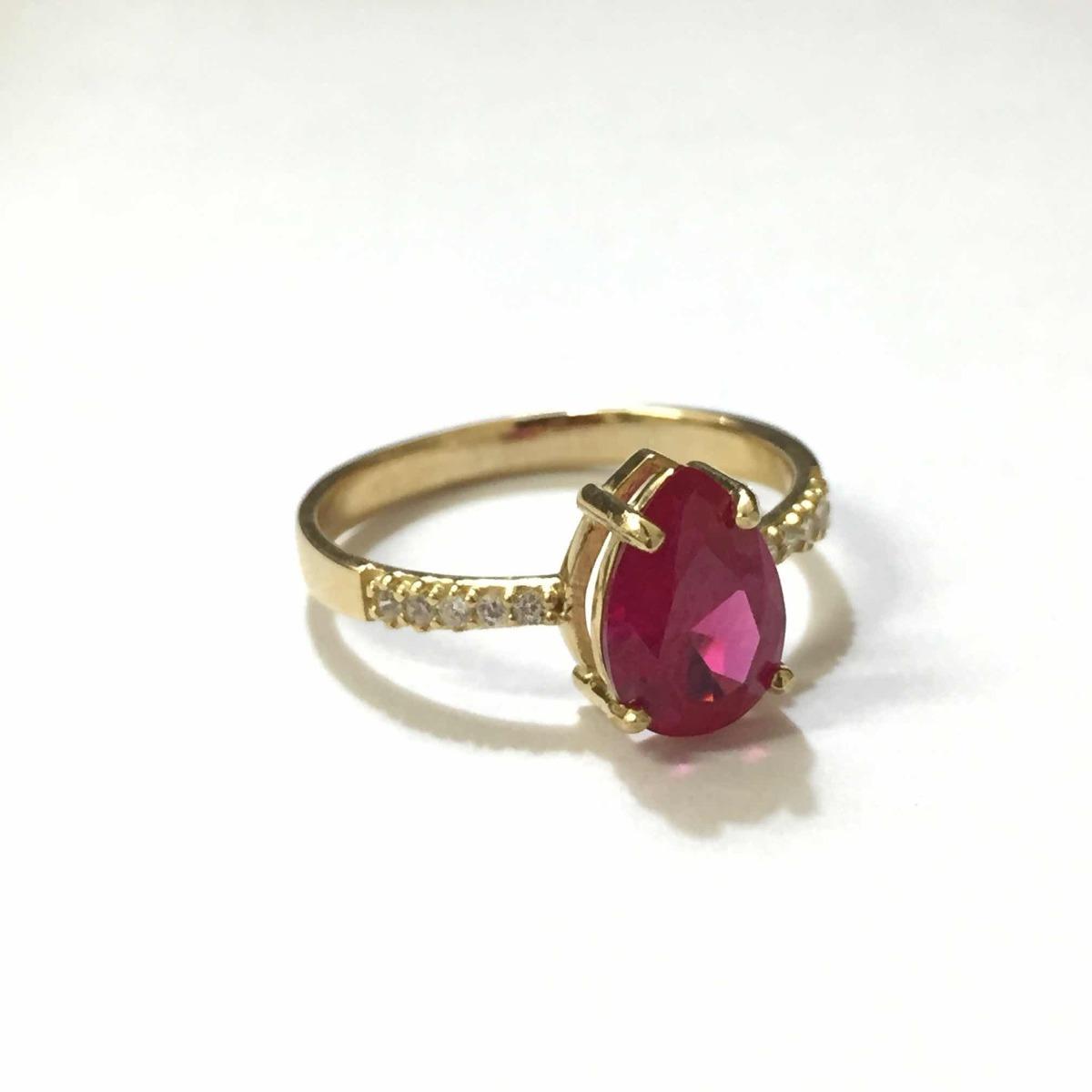 anel princesa gota formatura rubi sintética ouro 18k-750. Carregando zoom. fe9e3ae4064
