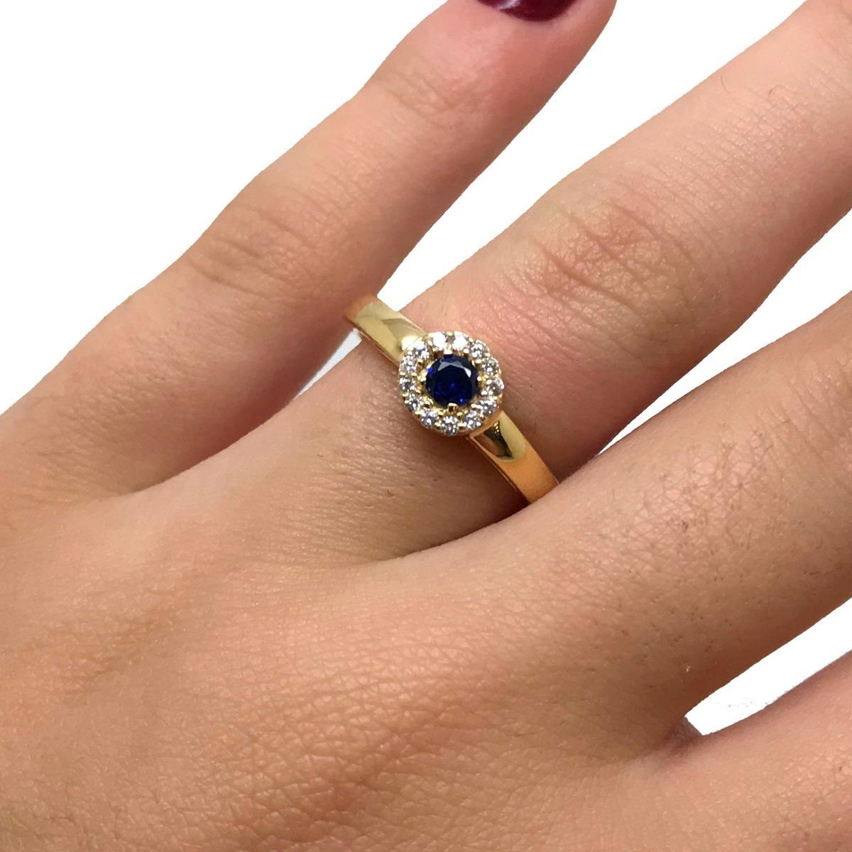 anel princesa safira azul feminino ouro 21060. Carregando zoom. 56dae3bdcc2