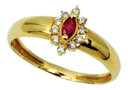 anel profissao ouro 18k 10 pedras 2m 1 pedra 5x3  - afo2134s