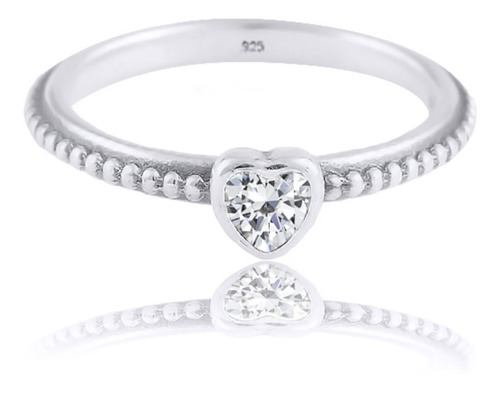 anel pura prata 925 solitário  coração zirconia - feminino