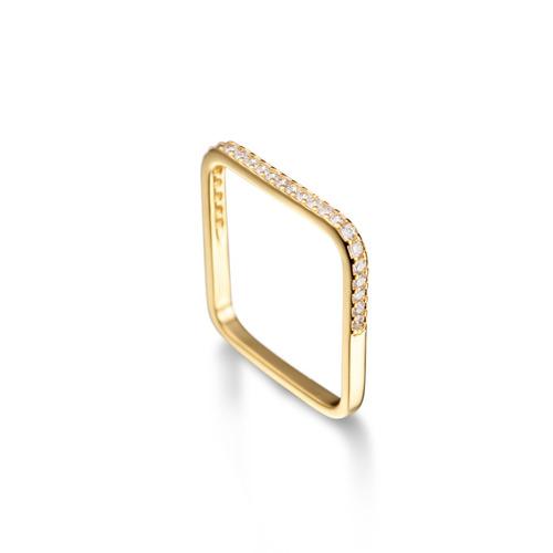 anel quadrado fino com zircônias