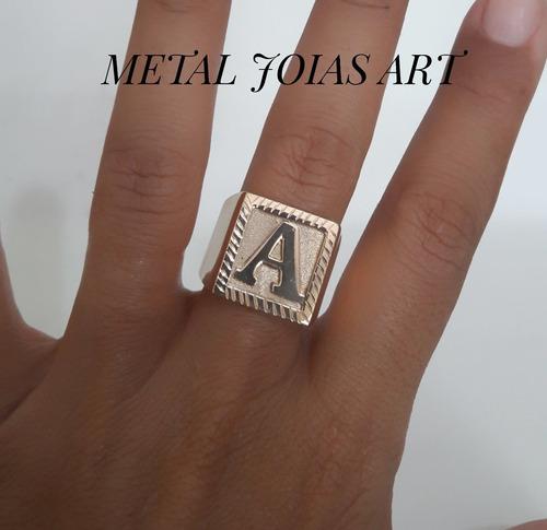 anel quadrado ouro 18k 13gr com  letra qualquer medida