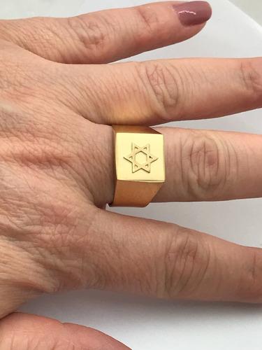 anel quadrado ouro 18k davi salomão hexagrama seba 6 pontas
