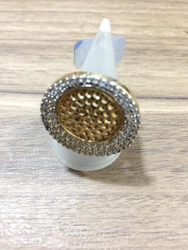 anel redondo duas cores com zircônio e banho em ouro 18k