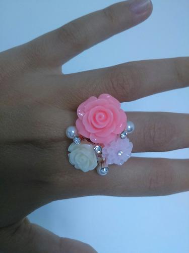 anel regulável com rosas
