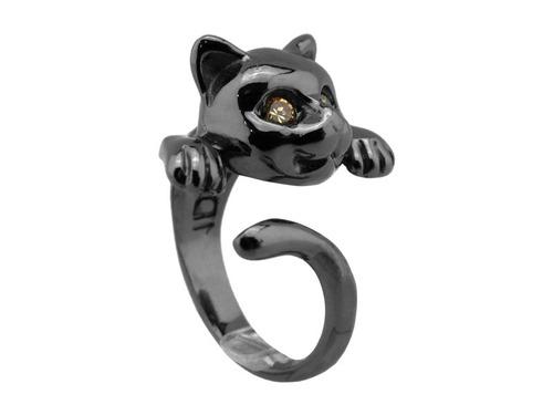 anel ródio negro gatinho com zircônias champagne