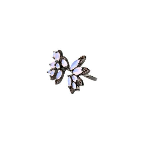 anel ródio negro regulável cravejado em zircônia- an030059