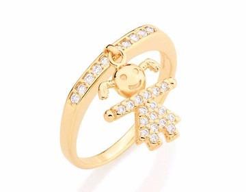 anel rommanel 27 zirconias menina folh ouro 18k 511461