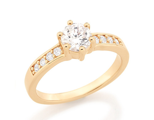 anel rommanel aliança noivado  solitario 9 zirconias 511652