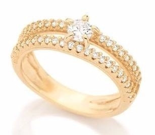 anel rommanel solitario  folheado ouro .511499