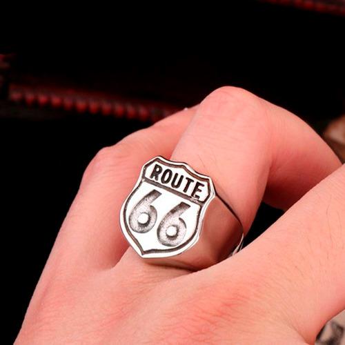 anel route 66  em aço 316l moto harley davidson rock