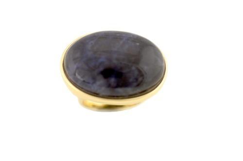 anel semi - joia de pedra quartzo azul banhado a ouro-1350