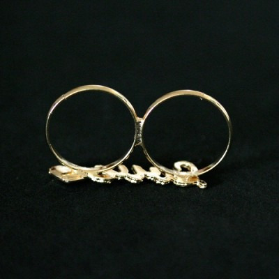 anel semi jóia folheado a ouro regulável love
