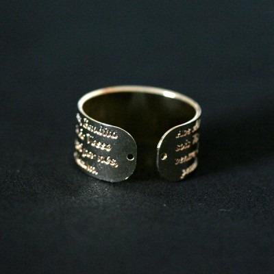 anel semi jóia folheado ave maria regulável
