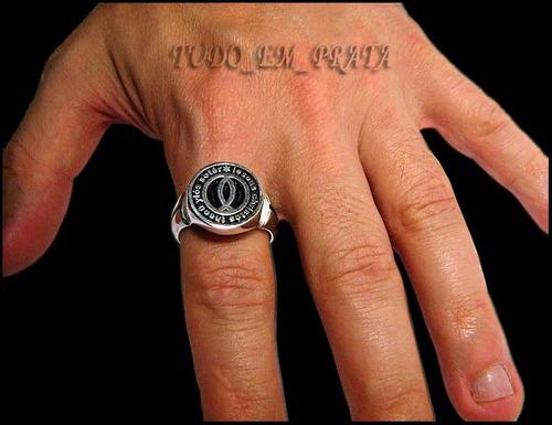 anel símbolo cristão do peixe em prata / evangélico / jesus
