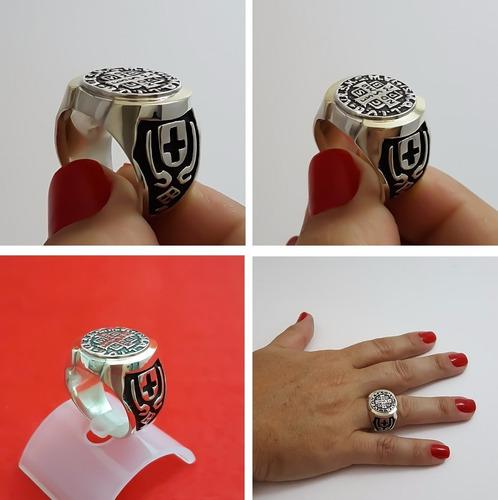 anel são bento em prata de lei 925 maciça com lamina ouro