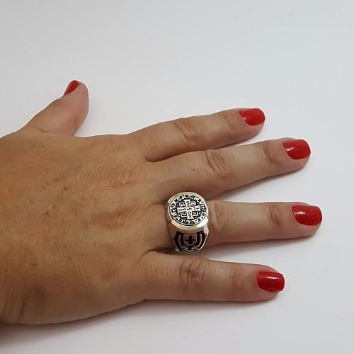 anel são bento prata lei 925 com ouro masculino c/ estoque