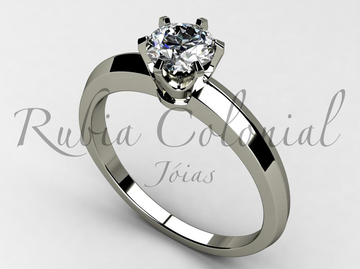 60aea8ac8050d Anel Solitário 50 Pontos. Diamante Ouro Brilhante Luxo - R  5.450,00 ...