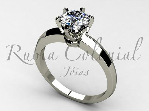 anel solitário 50 pontos. diamante ouro brilhante luxo