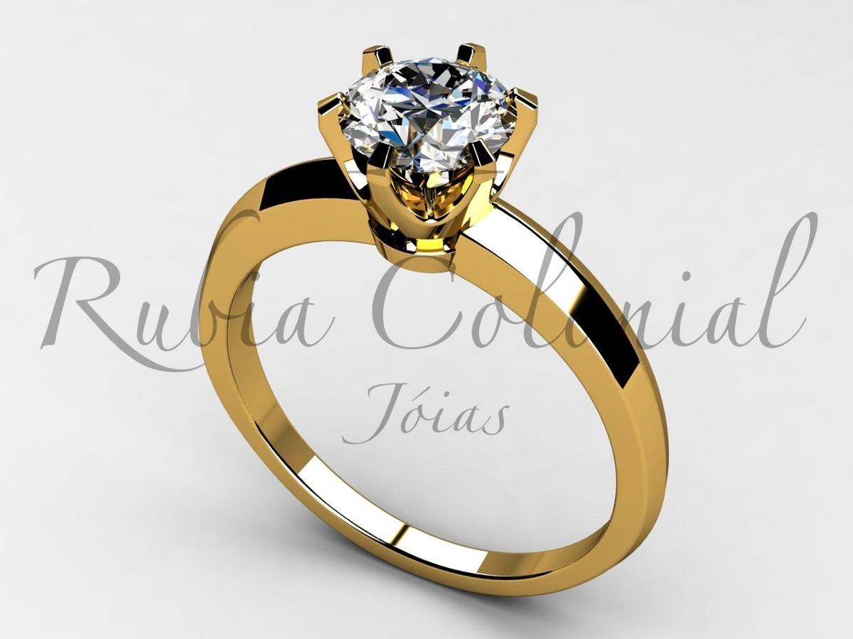 6effeebc5a5f0 anel solitário 50 pontos. ouro 18k diamante brilhante luxo. Carregando zoom.