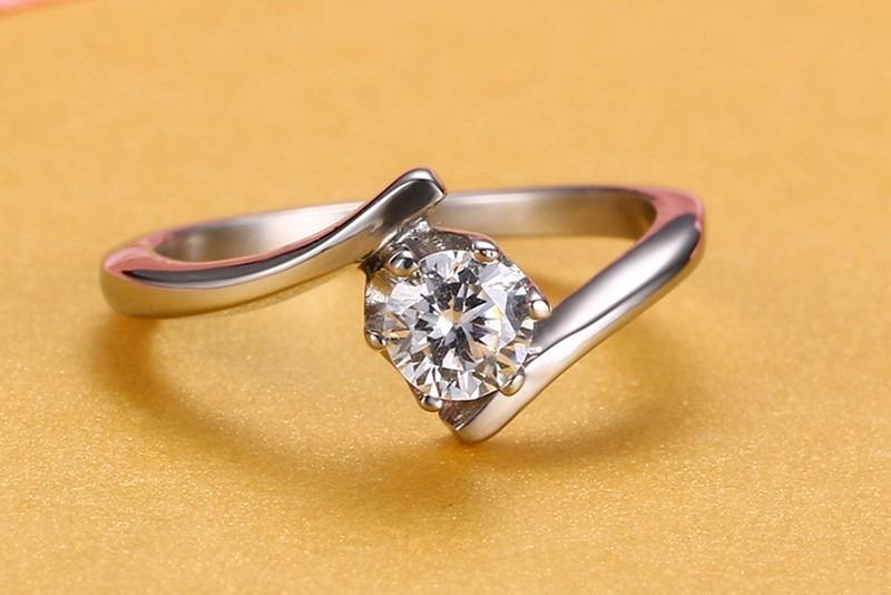 d26dba4ec81d9 anel solitário aço 316l com diamante cz compromisso. Carregando zoom.