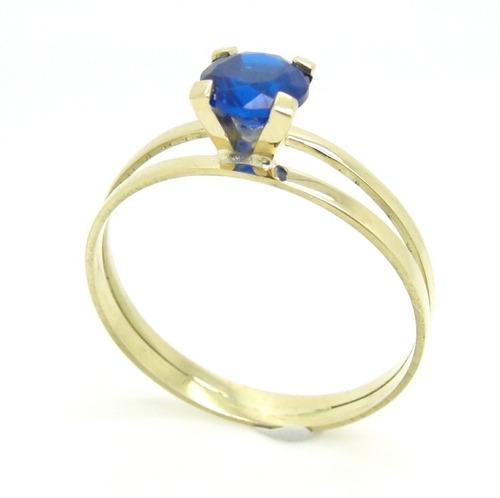 anel solitario aliança ouro 18k - safira sintetica - ou00172